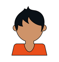 Colorful caricature image faceless half body guy vector