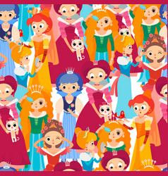 Cartoon baby princesses seamless pattern vector