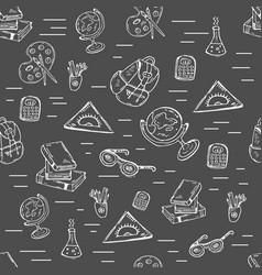 School class pattern with school supplies vector