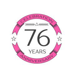 Seventy six years anniversary celebration logo vector