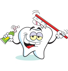Cartoon toothbrush tooth vector