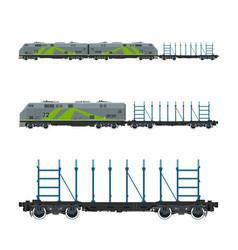 Green locomotive with railway platform vector