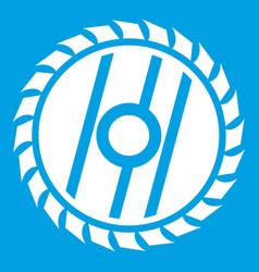 Circular saw blade icon white vector