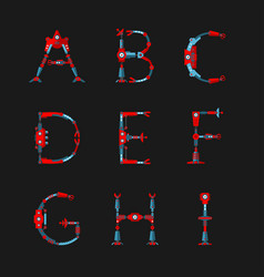 Technical robot font letters from a to i vector