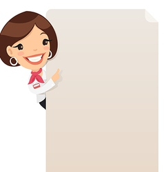Female manager looking at blank poster vector