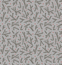 Seamless pattern fir brunch winter snowflake gray vector