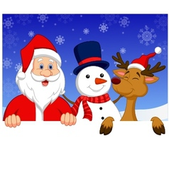 Santa claus nosed reindeer and snowman with blank vector