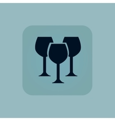 Pale blue wine glass icon vector