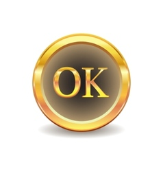 Gold button with ok sign vector