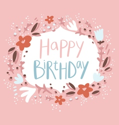 Pink floral birthday congratulation card vector