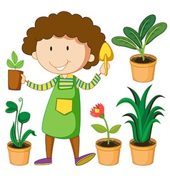 Gardener with potted plants vector
