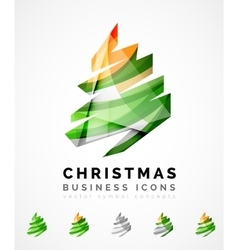Set of abstract christmas tree icons business vector