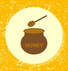 Round icon pot of honey with stick vector