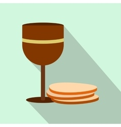 Chalice of wine and wafers flat icon vector