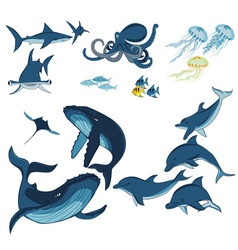 Marine animals and fish vector