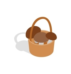 Basket with mushrooms icon isometric 3d style vector