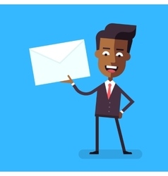 African american businessman holding a letter vector image vector image
