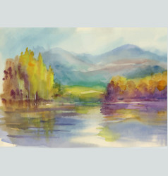 Autumn forest with river watercolor vector