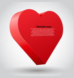 big red 3d heart on white background vector image vector image