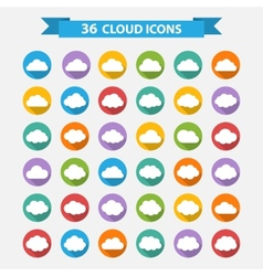 Big set of thirty-six white cloud shapes vector image vector image