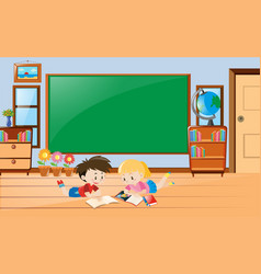 boy and girl reading book in class vector image