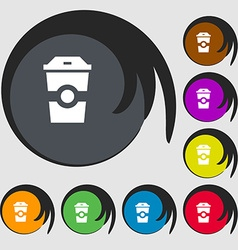 Breakfast coffee icon symbols on eight colored vector