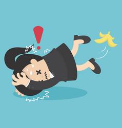 business woman slip on banana peel and falling vector image