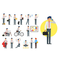 businessman character set vector image vector image