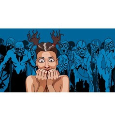 cartoon frightened girl in the crowd of zombies vector image vector image