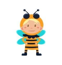 Child wearing costume of bee vector