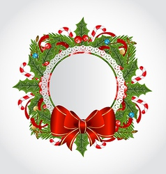 Christmas holiday decoration with greeting card vector image vector image