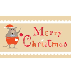 Christmas mouse card vector