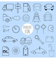 Contour icons on the topic of car and vehicle vector