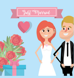couple married with flowers and ribbon design vector image