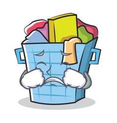 Crying laundry basket character cartoon vector