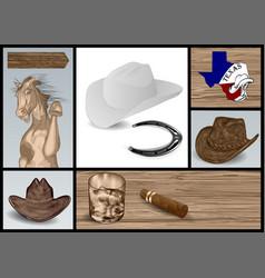 Designer set for cowboy vector