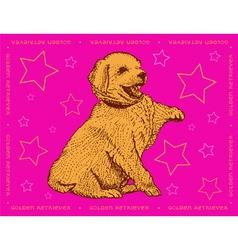 Dog golden retriever on a pink ornamental backgrou vector