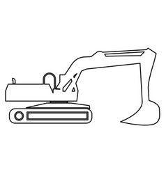 excavator black color path icon vector image