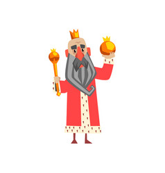 Funny king character in red mantle holding orb and vector