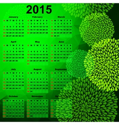 Green calendar for 2015 vector image vector image