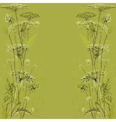 Green herbs background hand drawn meadow vector