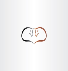 Horse heart shape logo love icon vector