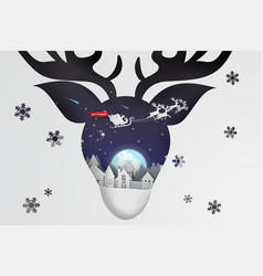 paper art and craft of christmas with reindeer vector image vector image