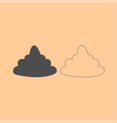 Poo dark grey set icon vector