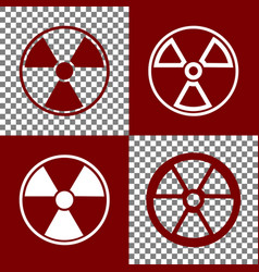 Radiation round sign bordo and white vector