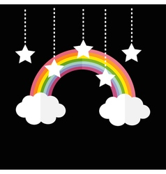 Rainbow and two clouds White stars hanging on dash vector image