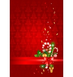 Red christmas background with decoration vector image