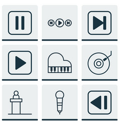set of 9 music icons includes octave skip song vector image vector image
