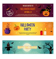 set of halloween banners with halloween characters vector image vector image