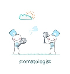 stomatologist playing badminton tooth vector image vector image